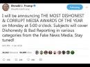 Trump reveals Fake News Awards, website crashes
