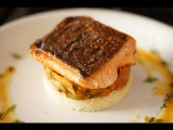 Crispy Salmon w Ratatouille and Couscous - Bruno Albouze - THE REAL DEAL