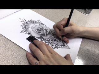 Тату салон дом тату (colored tattoo realistic rose and lase) | тату - студия дом элит тату (tattoo studio moscow)