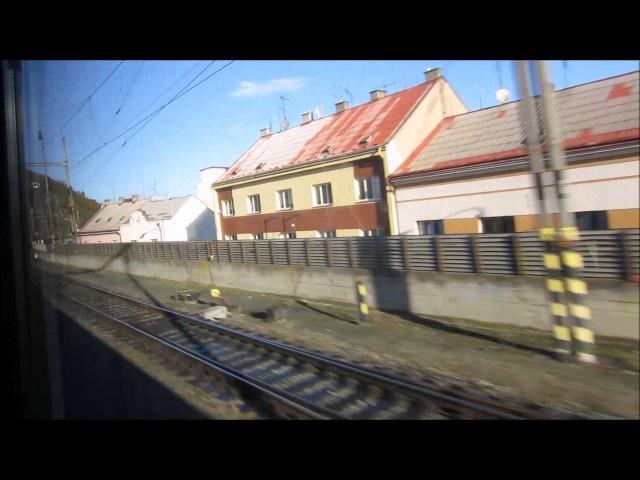 Поездка в Дрезден на поезде Прага - Гамбург. Вид из окна интерьер поезда.