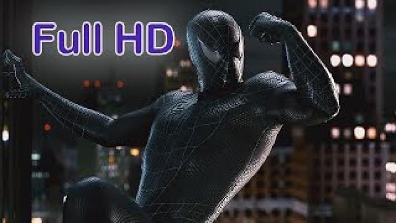 Человек-паук в чёрном костюме-симбиоте. Full HD 1080p 60 FPS.