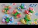 Бабочки бантики 🎀 из репсовых градиентных лент и помпонов МК DIY 👐