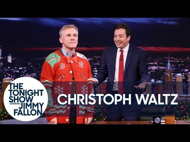 Jimmy Pulls Christoph Waltz into the Christmas Spirit with a Holiday Sweater