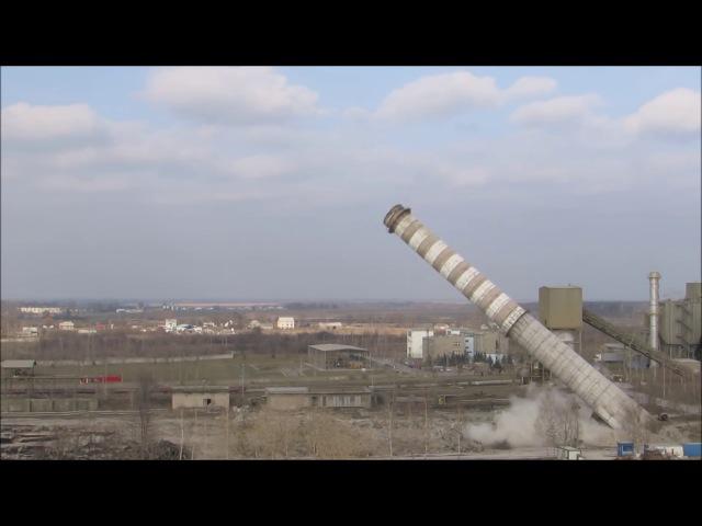 Снос 1400 х тонных дымовых труб