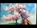 Акварель. [ Eng sub ] Watercolor Tree Painting easy tutorial 4 Cherry blossom 水彩画の基本 〜桜の樹木を描くコツ