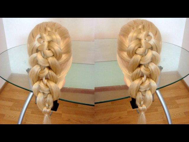 Коса из узлов Причёска на каждый день Красивые косы
