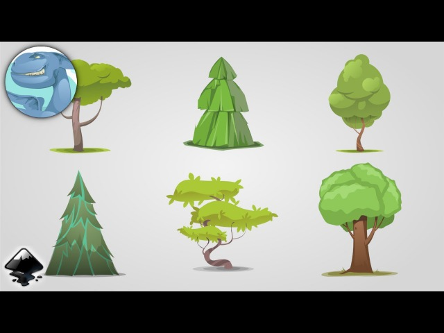 Set of simple stylised trees. Speed art in Inkscape.