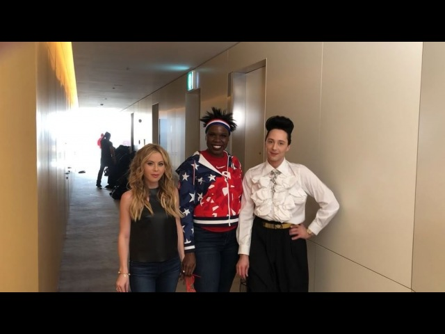 """•JOHNNY WEIR• on Instagram: """"LIVING with @lesdogggg @taralipinski and paying homage to our patron saint, @beyonce! ❤️❤️❤️ olympics strut life"""""""