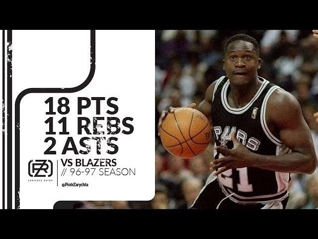 Dominique Wilkins 18 pts 11 rebs 2 asts vs Blazers 96/97 season