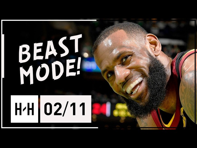 LeBron James CRAZY Highlights Cavaliers vs Celtics 2018 02 11 24 Pts 10 Ast 8 Reb in 3 Qtrs