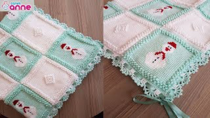 Kardan adam motifli bebek battaniyesi yapımı