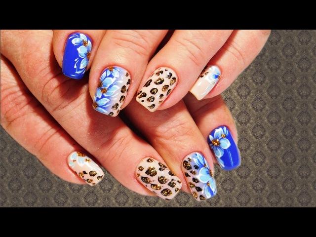 💕 Цветы с леопардовой прорисовкой 💕 Красивый и простой летний дизайн ногтей 2017 💕