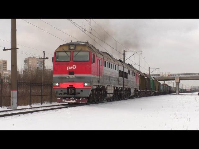 С неисправным прожектором Тепловоз 2ТЭ116У-0156 с грузовым поездом