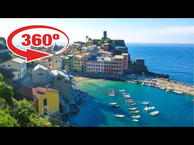 ITALY in 360º • CINQUE TERRE - beautiful village of VERNAZZA • 360 VR travel video