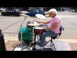 Grandma Drummer Tearing it up in Downtown La Crosse