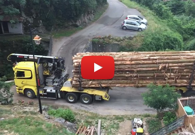 Как этот лесовоз проедет по этому мосту - Видео