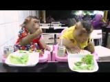 Очень забавно, понаблюдайте, как едят Он и Она...)))