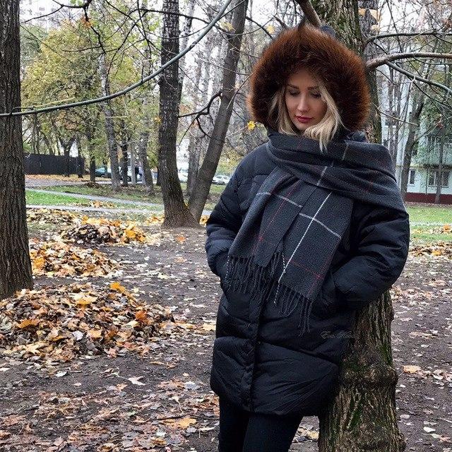 Объемный пуховик - идеальный для свитеров крупной вязки