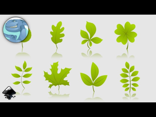 Set of simple green leaves. Speed art in Inkscape.