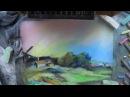 Рисую Саврасов Радуга мелом и пастелью на наждачной бумаге Suis la lune