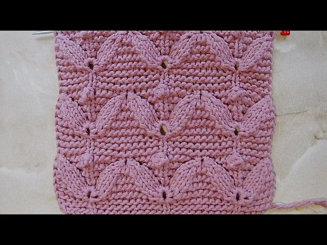 Рельефный узор Листочки с шишечками Вязание спицами Видеоурок 232