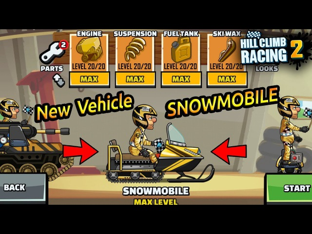 Hill Climb Racing 2 - New Vehicle SNOWMOBILE Fully Upgraded