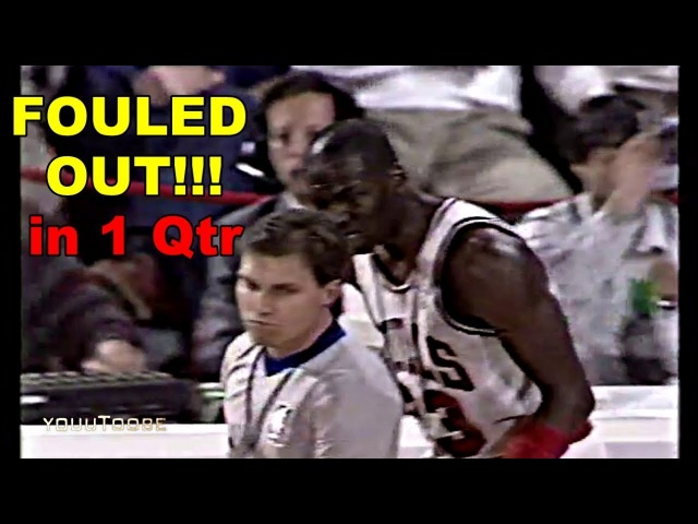Michael Jordan 6 Fouls (Fouled OUT) in 1 Quarter! Bulls vs Pistons 1989