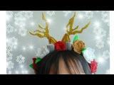 Diadema Navideña! / diadema de Reno con flores/ fieltro/christmas hairbows