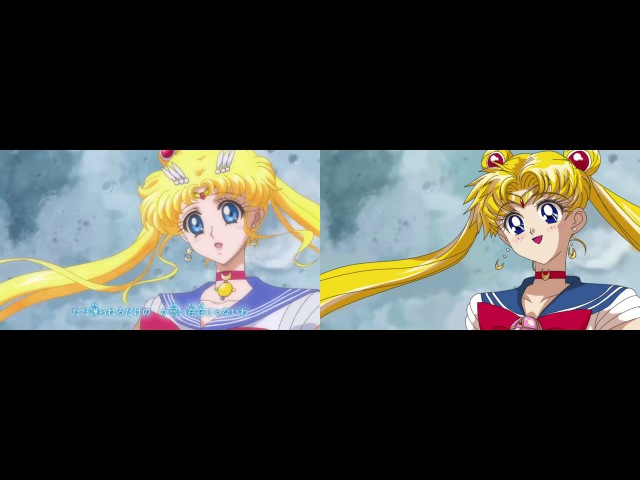 Sailor Moon Crystal 90's Art Style Opening Comparison [recolored]