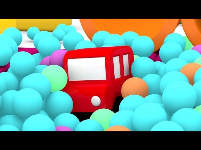 Quatre voitures colorées camion de pompiers Dessin animé éducatif