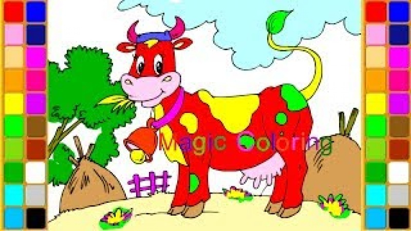 Drawing a Cow for Kids Sound of Farm Animals Coloring Pages