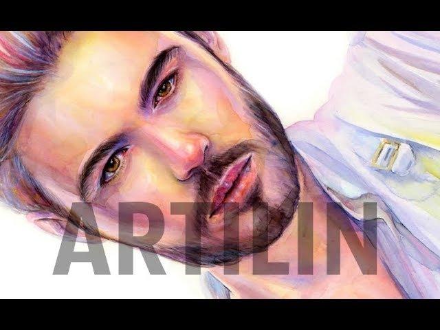 Artilin - speedpaint   портрет мужчины акварелью