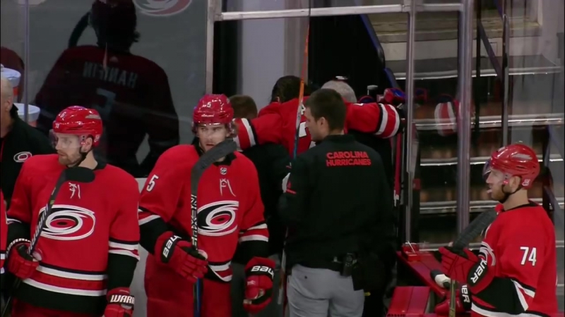 Gotta See It_ Aho taken out by Giordano, needs assistance to leave ice (1)