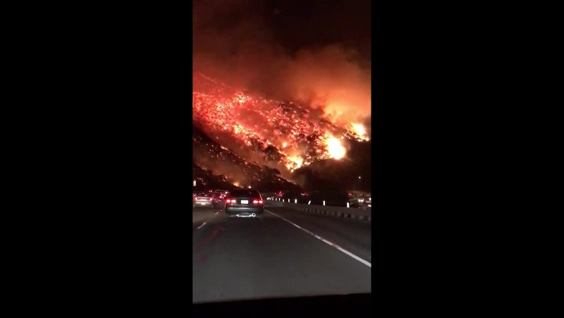 Los Angeles Skirball fire on the 405 fwy