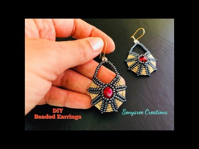 Beaded Earrings Egyptian inspired. Circular Herringbone Stitch
