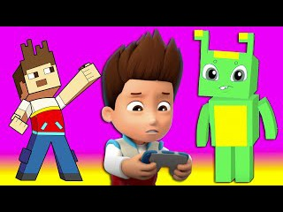 Paw Patrol & Groovy The Martian - Playing minecraft video game is fun but don't play too long!