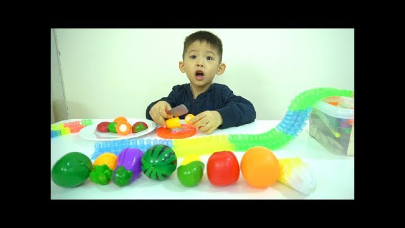 Slide Play Learning Fruits Vegetables Name and Learn colors for kids and babies by Xavi