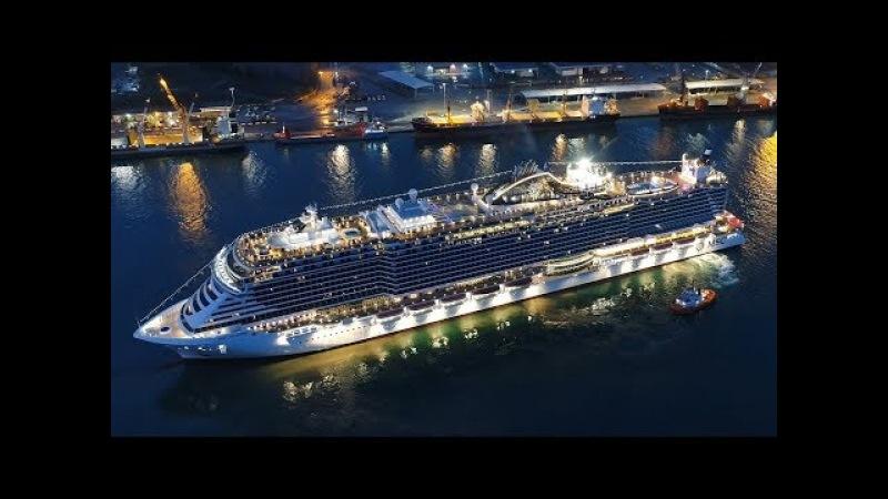 MSC SEASIDE | leaving Monfalcone forever / amazing horn battle yard vs. ship | 4K-Quality-Video