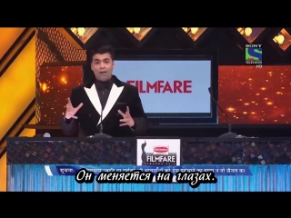Забавные моменты из церемонии Filmfare 2016 с участием Шахрукх Кхана /русские субтитры