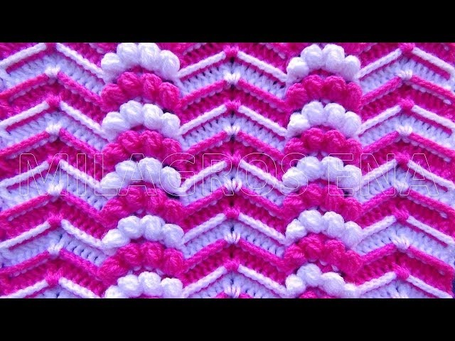 Punto a Crochet Zig Zag en Relieves combinado con Abanicos de Garbanzos para Mantitas