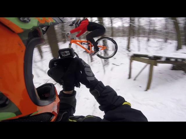 Зимний спот. Орехово Овраг и Место. Winter downhill ride.