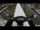 На скутере зимой! Отжиг и дрифт на скутере tact