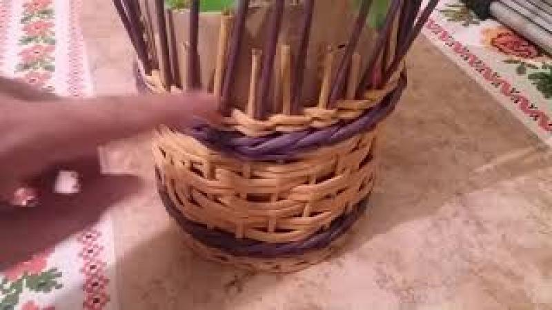 Плету корзинку кубышку с наращиванием стоечек и загибкой очень похожей на розгу