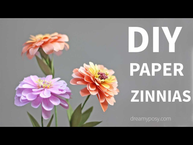 [FREE template and tutorial]: Paper Zinnias flower from printer paper, SO SIMPLE