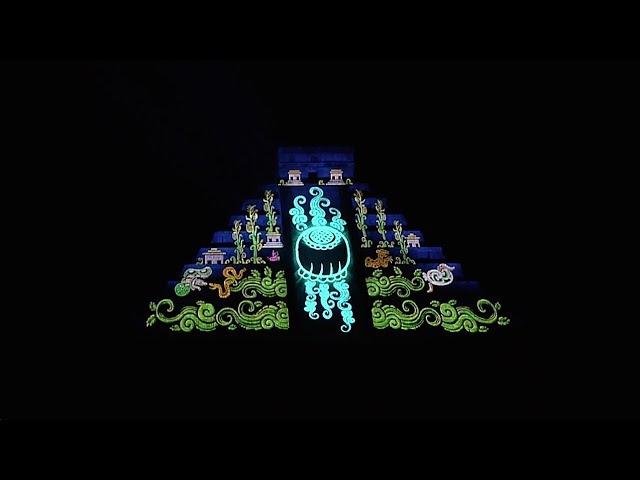 Mexico- El Castillo Night Show.. Chichen Itza, Mexico