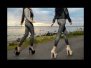 Coatching in heels trailer two hot brunettes in high heel pumps