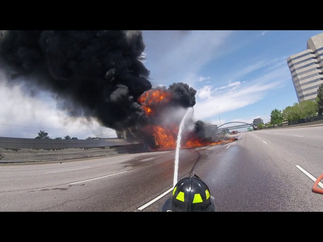 Massive Fuel Tanker Fire on I-25 Near Denver, Complete HD Fire Department Footage