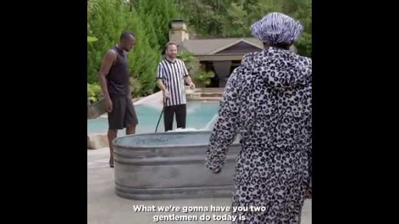 Kevin Hart vs Usain Bolt in an ice bath challenge goes exactly how you'd expect