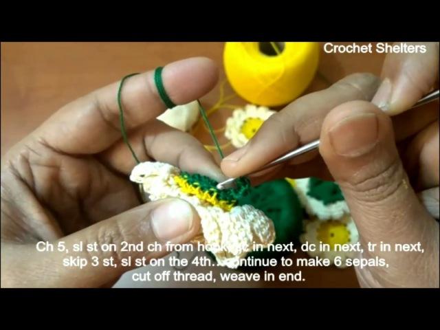 Crochet Flower with Calyx Stalk Video Tutorial Part-2 (Zinnia)