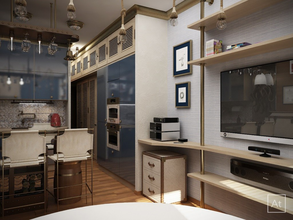 Проект квартиры 25 м в морской тематике.